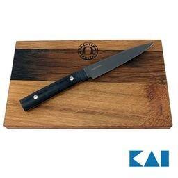 Kai Michel Bras Quotidien BK-0026, ultrascharfes Allzweckmesser, 12,1 cm Klinge+ großes Scheidebrett aus Fassholz (Eiche) 25x15cm Michel Bras Kai