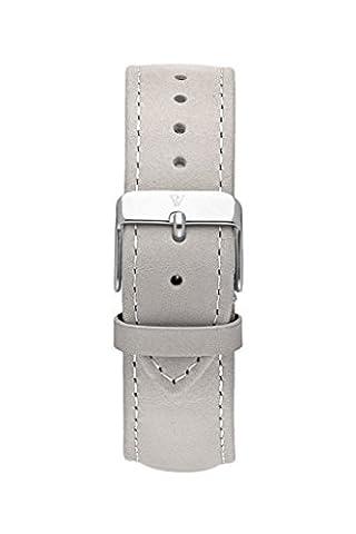 Paul Valentine Bracelet de Montre | Gris en cuir véritable