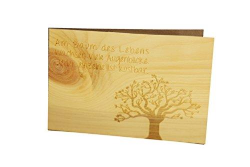 Holzgrußkarte - BAUM DES LEBENS - 100% handmade in Österreich - Postkarte, Geschenkkarte, Grußkarte, Klappkarte, Karte, Einladung, Holzart:Zirbe