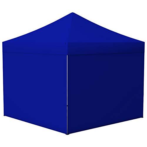 Vispronet® Faltpavillon Eco 3x3 m ✓ 4 Zeltwände, Vollwand ✓ Scherengittersystem ✓ inkl. Dach mit Volant (Blau)