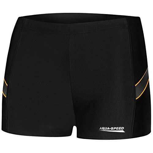 Aqua Speed Badehose eng für Herren | Retro Schwimmhosen schwarz Männer | UV Swimwear Men I Badepants I Slim Swim Trunks I Moderne Badebekleidung I Wiliam, Gr. L, 133/Black Grey orange