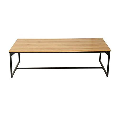 Eiche Dunkel Holz-basis (Melko Couchtisch, Wohnzimmertisch, Ablagetisch, Holz Eiche Natur hell, Metallgestell schwarz, rustikal, 120 x 60 cm, große Tischplatte)