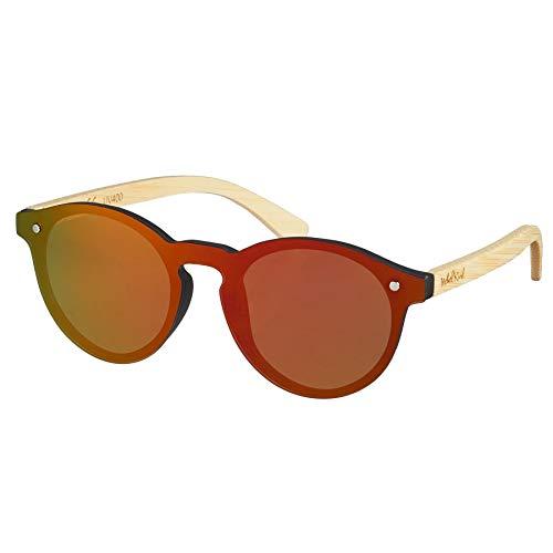 de Kunststoff/Bambus Sonnenbrille mit Bambus Etui Rot Verspiegelt One Size ()