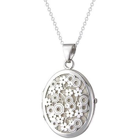 Plata de Ley Filigrana crema Oval Locket colgante con 45cm cadena en caja de regalo