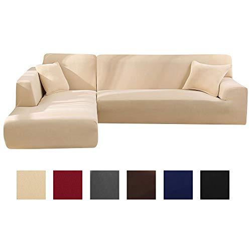 Enjoygoeu copridivano con penisola elasticizzato a forma di l chaise longue sofa cover angolare componibile divano in poliestere è composto da 2 pezzi,e con 2 federe (beige, 2 posti + 2 posti)
