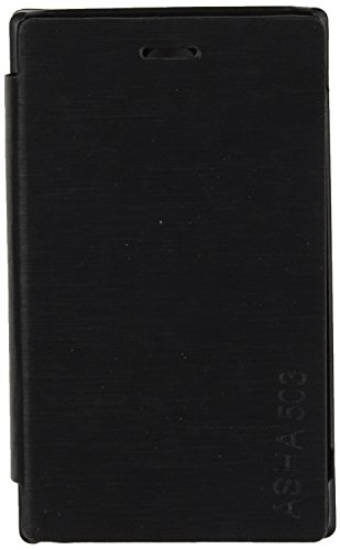 iCandy™ Synthetic Leather Flip Cover For Nokia Asha 503 - BLACK  available at amazon for Rs.180