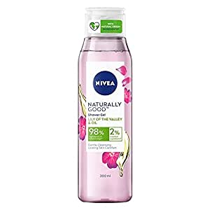 NIVEA Naturally Good Body Wash,Lily of the Valley & Oil Shower Gel, No Parabens, Vegan Formula, 98% Natural Origin Ingredients for Gentle Cleansing, 300 ml