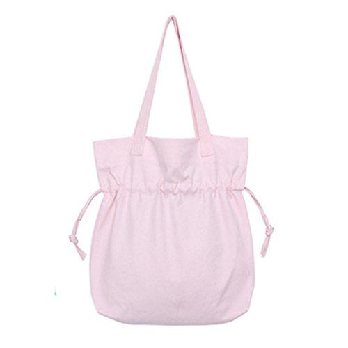 Miaomiaogo Sacchetto di spalla semplice di colore solido di estate Sacchetto fresco e bello della spalla della tela di canapa rosa