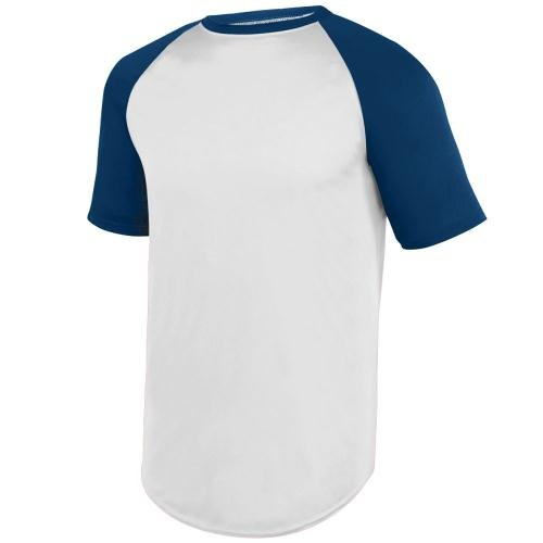 Augusta Sportswear Men's Wicking Short Sleeve Baseball Jersey S White/Navy (Augusta Jersey T-shirt)