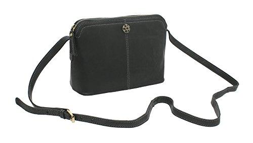 Mala Leather, Borsa a tracolla donna, Tan (Marrone) - 7118_88 Black