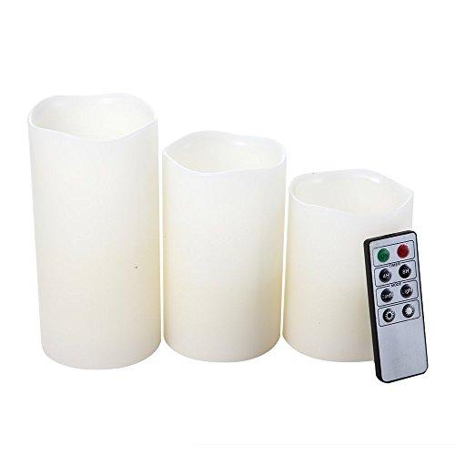 3velas sin llama de cera auténtica con mando a distancia para interior y exterior. Velas sin llama con LED centelleando alimentadas con pilas ideales para bodas, fiestas (pilas no incluidas)