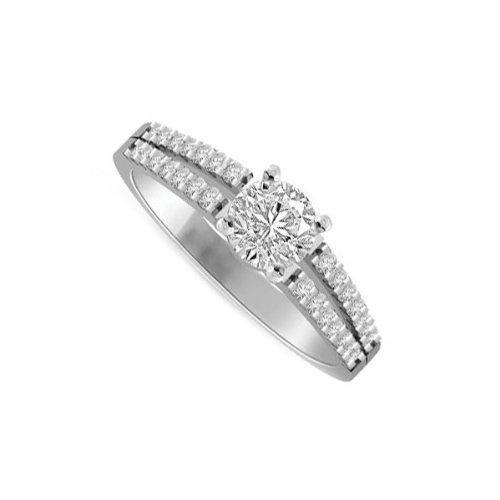 0,45 quilates H/SI1 Anillo solitario de compromiso de diamante para mujer con Redonda diamantes en 18k Oro blanco