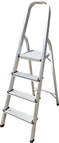 Escalera de aluminio Hyfive Paso 4 - Peldaños antideslizantes - Escalera de aluminio ligero con certificado...