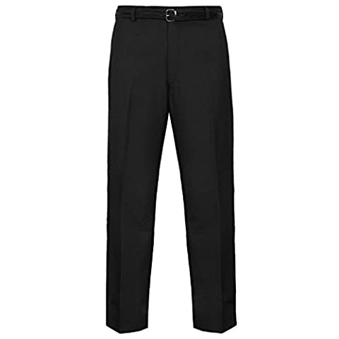 MyShoeStore® Mens Formal Trousers Casual Business Office Work Home Belted Smart Dress Pants Straight Leg Flat Front Everpress Pockets Plus Free Belt Big King Sizes 30-50