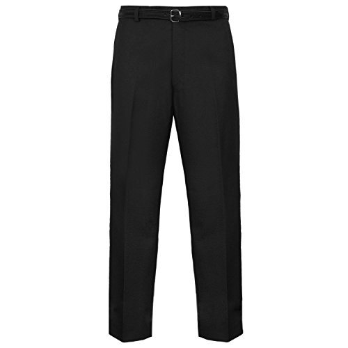 MyShoeStore Mens Formal Trousers Casual Business Office Work Home Belted Smart Dress Pants Straight Leg Flat Front Everpress Pockets Plus Free Belt Big King Size 30-50(Black, 32/33)