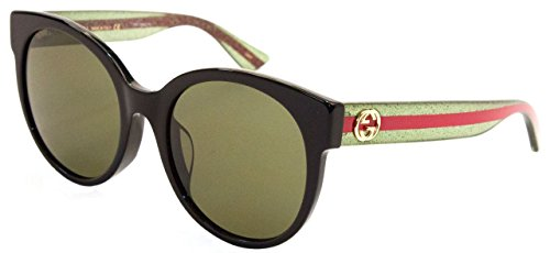 Gucci Damen GG0035SA 002 Sonnenbrille, Schwarz (Black/Green), 56