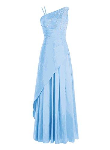 Bbonlinedress Robe de cérémonie Robe de bal emperlée en satin épaule asymétrique longueur ras du sol Bleu