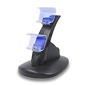 YUN GAME@ PS4 Controller Ladestation, Dual Dualshock 4 Ladegerät Charger, Doppeltes Schnellladegerät mit LED-Anzeige für Playstation 4 / PS4 Slim/PS 4 Pro Wireless Controller Gamepad
