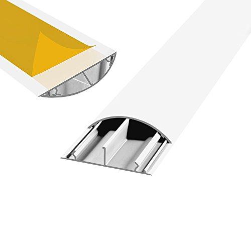 Fussboden TV Kabelkanal selbstklebend 3x 1m weiss 70x20mm PVC TV Kanal Wand Boden Fußboden Kabelbrücke halbrund rund HDMI Fernseher Lautsprecher Koaxial Kabel ARLI 3 Stück (Lautsprecherkabel Abdeckung Wand)