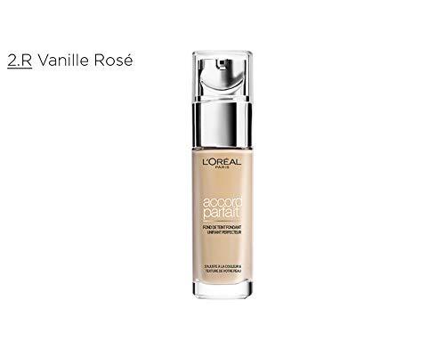 L'Oréal Paris - Fond de Teint Fluide Accord Parfait - Peaux Sèches à Normales - Teinte : Vanille Rosé (2.R) - 30 ml