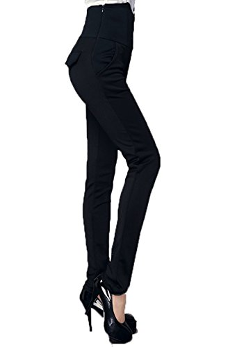 womens-high-waist-tight-bootleg-pants-elastic-fabric-trousers-black-l