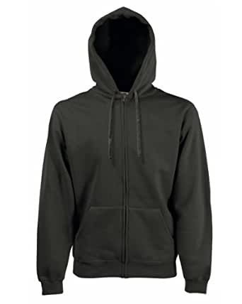 Fruit Of The Loom Hooded Sweat Jacket Colour=Charcoal Size=XL