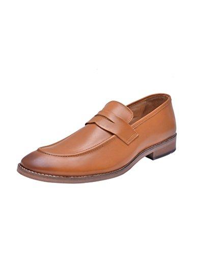 Hirel's Men Tan Leather Slip On Mocassion Shoes 9
