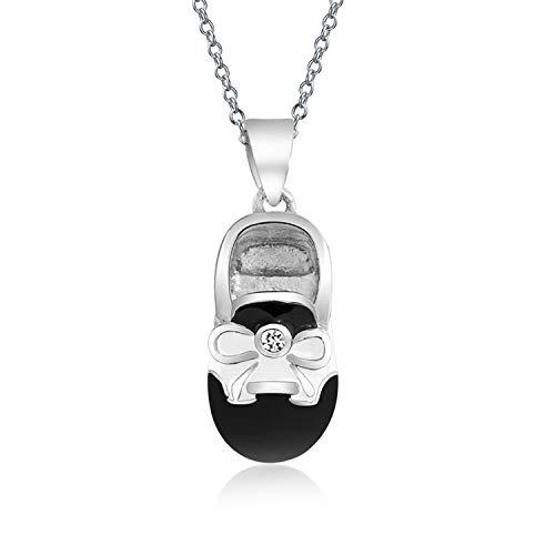 Bling Jewelry Persönliches Baby Schuh Charm Anhänger Mit Halskette Schwarz Weiß Sattel Schuh Für Neue Mutter Sterling Silber Graviert