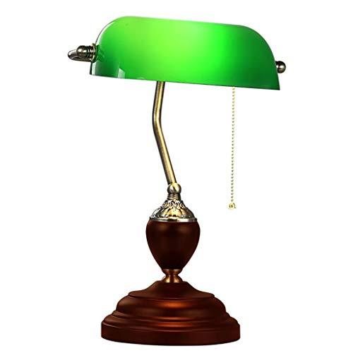 Marching orchid Vintage Schreibtischlampe - grüner Glasschirm aus poliertem Messing und massiver Holzsockel - grüne Bürobankerlampe - Zugschalter mit Metallperlen -