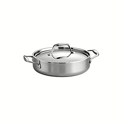 Tramontina 80116/009DS Gourmet 18/10 Stainless Steel Induction-Ready Tri-Ply Clad Covered Braiser, 3-Quart, Stainless by Tramontina