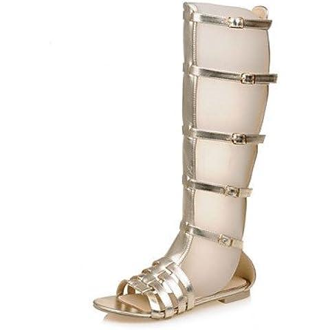 CBIN&HUA Zapatos de mujer-Tacón Plano-Gladiador / Punta Abierta-Sandalias-Vestido / Casual / Fiesta y Noche-PU-Plata / Oro , golden , us5.5 / eu36 / uk3.5 / cn35