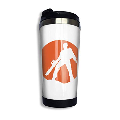 Qurbet Kaffeebecher Thermobecher mit Schraubdeckel, Ash Vs The Evil Dead Coffee Cup Stainless Steel Water Bottle Cup Travel Mug Coffee Tumbler with Spill Proof Lid