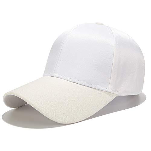 YPORE New Ponytail Baseball Cap Women Glitter Brim Trucker Caps Fashion Ladies Solid Color Satin Dad Hats Casual Summer Snapback Hat Damen Glitter-baseball-cap