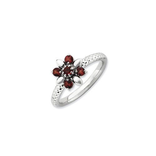 Black Bow Jewellery Company : Sterling Silver & Garnet Stackable 5 Round Stone Flower Ring