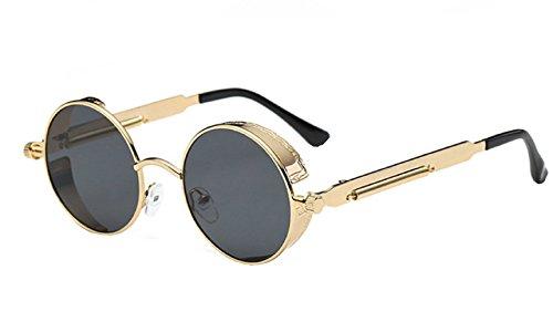 Inception Pro Infinite (Gold Frame - Grey Lens) Sonnenbrille - Steampunk - Rund - Herren - Damen - Unisex - Retro - Cyber