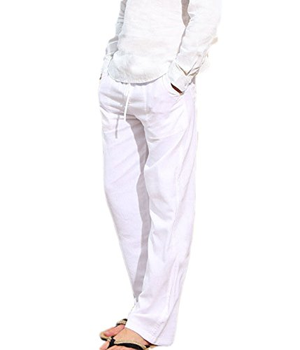 Huateng Pantaloni da spiaggia larghi da uomo Pantaloni estivi traspiranti  morbidi-Pantaloni di lino in 176599b74ed8