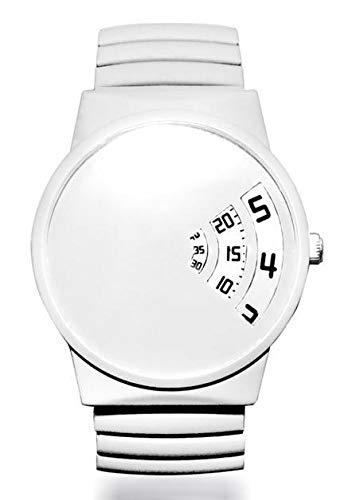 Hour Retro-Armbanduhr – weiße Gummiüberzug – Edelstahl erweiterbares Armband – für Damen und Herren – ()