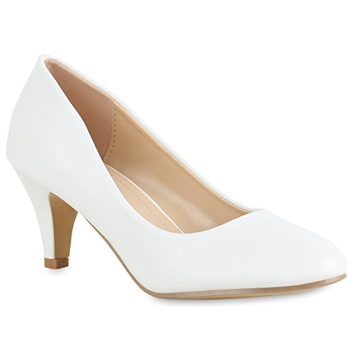 ps Basic Leder-Optik Schuhe Stiletto Mid Heels 154325 Weiss Cabanas 39 Flandell ()