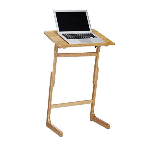 Relaxdays Laptoptisch höhenverstellbar, Notebookständer Bambus fürs Bett, neigbar HxBxT: 78,5 x...