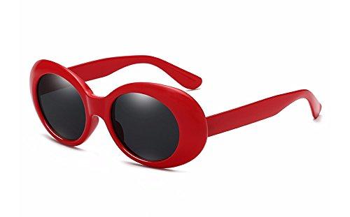 BOZEVON Retro Ovale Sonnenbrille - UV400 Schutzbrillen für Damen & Herren Rot-Schwarz C2