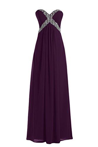 Toscane moderne en forme de mariée rueckenfrei chiffon abendkleider party ballkleider de longueur fixe Violet - Traube