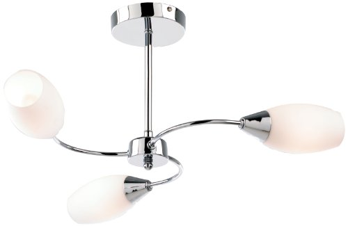 ENDON BALLAD 3 LIGHT CEILING FITTING - CHROME WITH OPAL GLASS SHADES