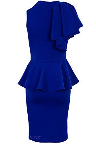 Sapphire - Femmes - Robe moulante péplum sans manches col rouléépaule ruchée volant soirée Bleu Roi