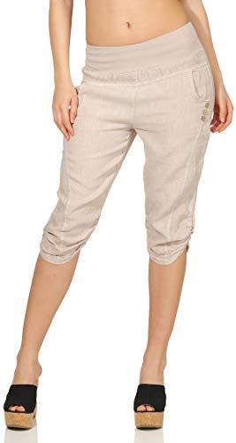 Beige Capri-hose (Malito Damen Hose aus Leinen | Stoffhose in Uni Farben | Freizeithose mit Knöpfen | Chino - Capri - Strandhose 7988 (beige, XXL))