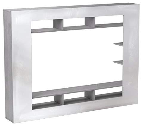 trendteam SD89535 Wohnwand TV Möbel weiss Hochglanz, Beton Industry Nachbildung, BxHxT 216x160x30 cm - 5