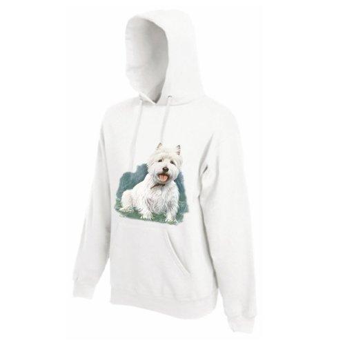 Einfach Tees West Highland Terrier von millen Erwachsene Kapuzen Sweatshirt, Bedruckt auf der Vorderseite Gr. XL, Weiß (Terrier Sweatshirt West Highland)