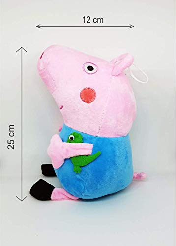 Charms Gift Basket Pig George Soft Toy with Dinosaur Hypoallergenic Blue Colour 25 cm