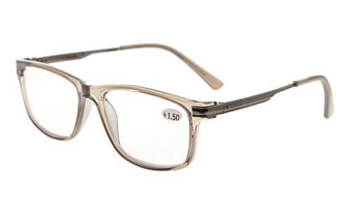 Eyekepper TR90 Rahmen Metall Frühling Arme Keine Linie Bifokal Multifocus Brillen 3 Stufe Vision Lesebrillen Blendschutz Computer Leser(Grau Rahmen +1.00) - A-linie Frühling