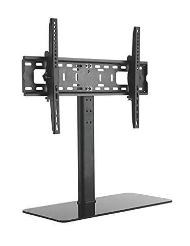 LCD LED TV STÄNDER GLAS STANDFUSS Neigbar Höhenverstellbar Fernsehstand Stand Flachbildschirm Möbel Rack VESA 400x400 600x400 Universal HALTERUNGSPROFI (Schwarz Glas-lcd-tv-ständer)