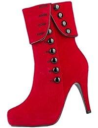 SODIAL(R)Zapatos de tacon Atractivos de mujer Zapatos de tacones altos de fiesta Botas Rojo 39